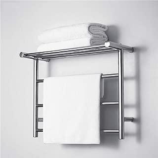 XSGDMN Towel Warmer with Top Shelf, Wall Mounted Stainless Steel Towel Heater, Brushed Nickel Heated Towel Rack for Bathroom, Hard Wire Hot Towel Rack