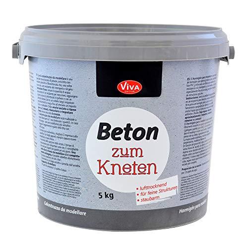 Viva Decor® Bastel Beton zum Kneten (5 kg Eimer) Knetbeton für Dekorationen - kreativ Basteln mit dem Bastelbeton zum Kneten- oder als Abformmasse für Deko - Made in Germany