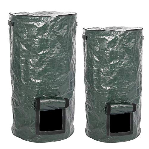 Lowest Prices! Chirs offer Organic Waste Kitchen Garden Yard Compost Bag Environmental PE Cloth Plan...