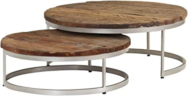 Unfade Memory Round Coffee End Table Nesting Accent Side Tables, Reclaimed Wood and Steel Coffe Table Set of 2