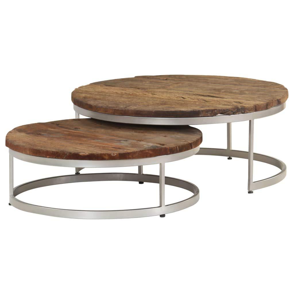 vidaXL Set de Mesas de Centro Mesita de Salón Mesilla de Café Sofá de Madera Reciclada y Acero 2 Piezas: Amazon.es: Hogar