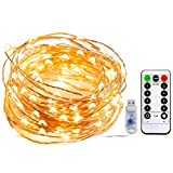 Tira led, Gloriz Guirnaldas con Luces Decorativas 10m con Control por USB / Remoto Infrarrojo 100 Luces LED Impermeable para Navidad Fiesta Año Nuevo Boda Decorarar en Casa Dormitorio Patio Jardín...