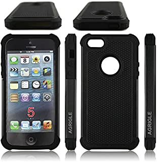 AGRIGLE AB669655 Shock- Absorption/High Impact Resistant Hybrid Dual Layer Armor Defender Full Body Protective Cover Case Compatible with iPhone 5/5S/SE (Black2)
