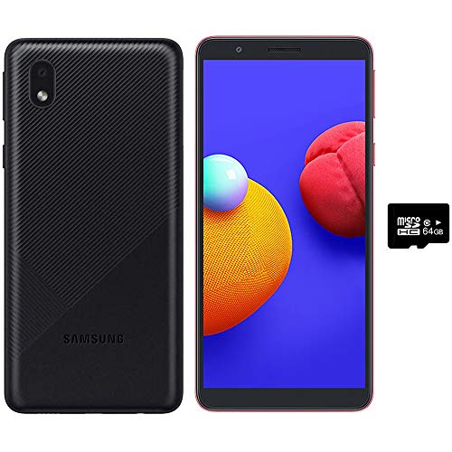 """Samsung Galaxy A01 Core (16GB) 5.3"""", 3000mAh Battery, Android 10, Dual SIM GSM Unlocked Global 4G LTE (T-Mobile, AT&T, Metro, Straight Talk) International Model A013M/DS (64GB SD Bundle, Black)"""
