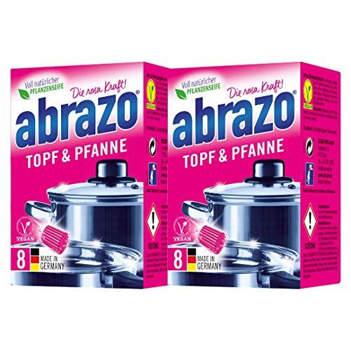 abrazo Topf&Pfanne Reinigungskissen Reinigungs-Schwamm Topfreiniger Grillreiniger & Backofen-Reiniger Stahlwolle antibakteriell vegan 2x8 St