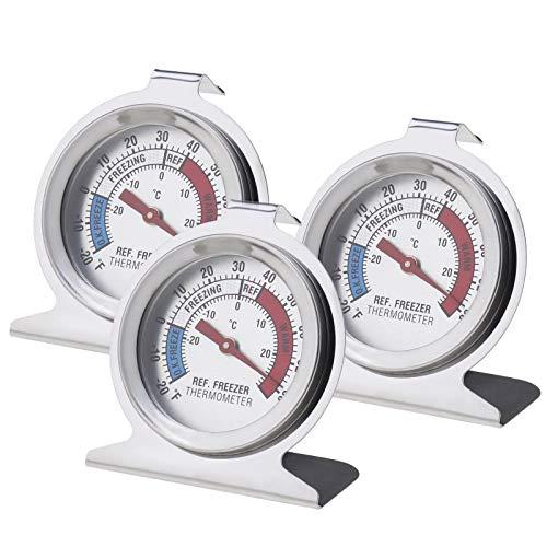 EMSea 3pcs Thermomètres Réfrigérateur à Double Calibre pour Congélateur, Fahrenheit -20 à 80 et Centigrade -30-30 (en Acier Inoxydable)