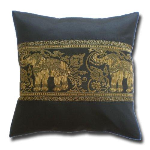 stickersquare Elefanten Blumenranken schwarz Kissenbezug Kissenhülle Kissen 41,5 cm x 41,5 cm Thai Silk Sofa Couch