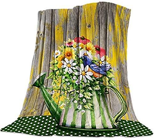 Manta de pelo largo muy suave, diseño de flores y pájaros y hervidor de agua verde en lunares de mesa vintage tablero de madera manta decorativa para viajes, 40 x 50 pulgadas