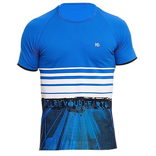 HG Frame Masculina en Color Azul - Camiseta técnica de Manga Corta para Running, Trailrunning. Cómoda, Transpirable, con termorregulación Inteligente y Tejido antiolor (M)
