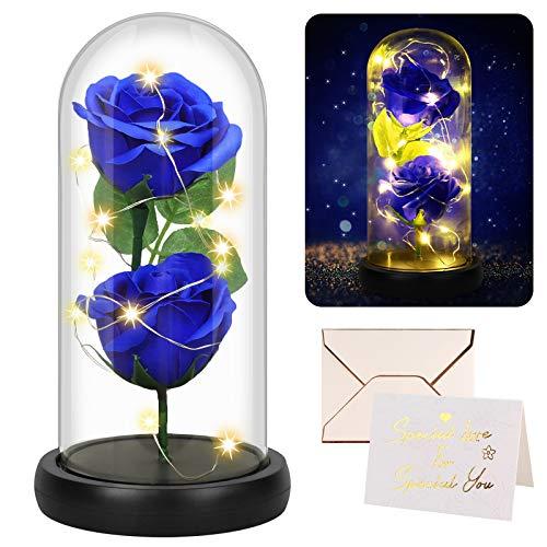 Becoyou Rosa Eterna, Rosa Preservadas Flor Azul Artificial En Cúpula de Cristal Decoración del Hogar Regalos para San Valentin Regalos Originales para Mujer Regalos Cumpleaños