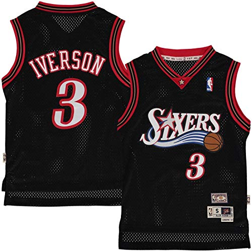 Outerstuff Allen Iverson Philadelphia 76ers #3 Black Youth Throwback Soul Swingman Jersey (Small 8)