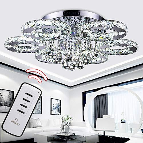Hengda 88W LED Kristall Kronleuchter mit Fernbedienung Modern Deckenleuchte Lichtfarbe einstellbar LED Deckenlampe für Wohnzimmer Küchen Schlafzimmer mit Fernbedienung