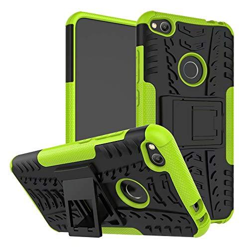 Smfu Cover Compatibile Huawei Honor 8Lite/P8 Lite 2017/G9 2017/Nova Lite/P9 Lite 2017 Custodia+Pellicola Protettiva in Vetro Temperato 2 Pezzi 360 Gradi Protettiva Bumper Staffa Custodia -Verde