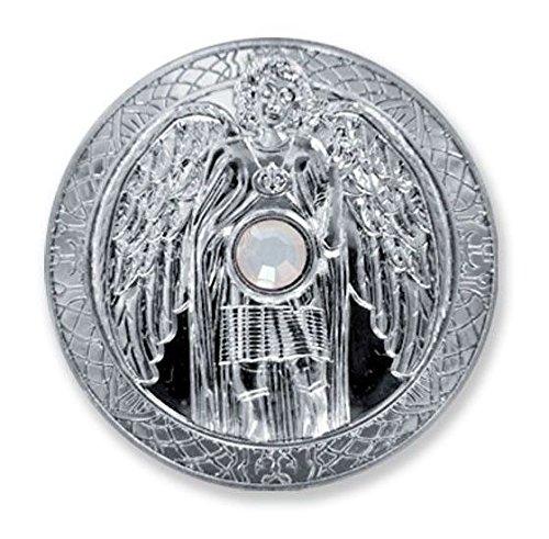 Moneda de la suerte Ángel de la guarda, arcángel Gabriel, plata, cristal Swarovski, diámetro de 27 mm, talismán, amuleto de la suerte, símbolo de protección