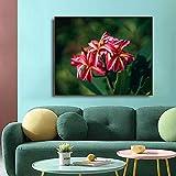 Rote Blume Leinwand Malerei Kalligraphie Poster Wohnzimmer