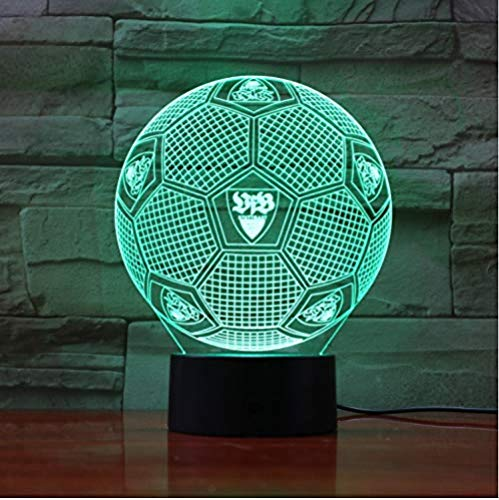 Bundesliga Fußball Team Fc Vfb Stuttgart 3D Illusion Führte Nachtlicht Jungen Kinder Baby Geschenke Fußball Tischlampe Nachttischdekoration
