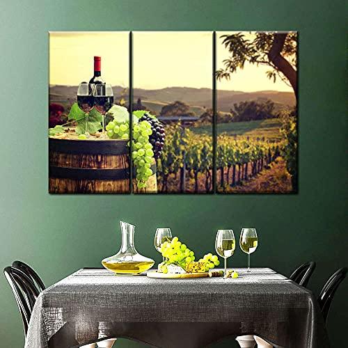 45Tdfc 3 Paneles Wall Art Pictures Vino y Barril Fruta Uvas Granja Wood Canvas Print Modern Posters con Marco para La Decoración De La Sala De Estar,40×80cm-3