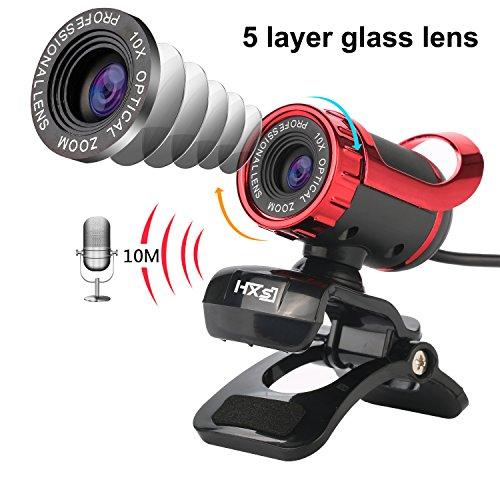 RONSHIN L-68 Webcam HD Camera 360 Graden Rotatie Hoek Ingebouwde Microfoon Laptop Desktop Computer Accessoire Rood