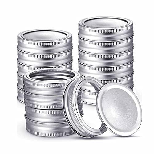 TWDYC Lids de jarra de enlatado de 24 piezas con sellos de silicona Anillos Tipo dividido a prueba de fugas de fugas seguras de frascos de metal cubierta redonda para la boca regular