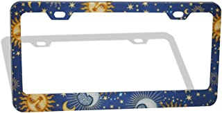 DZGlobal Universal Celestial Sol Sun Moon Blue Print Funny License Plate Frame Car Licenses Plates Covers Waterproof License Tag Aluminum Metal Frames for Women Men