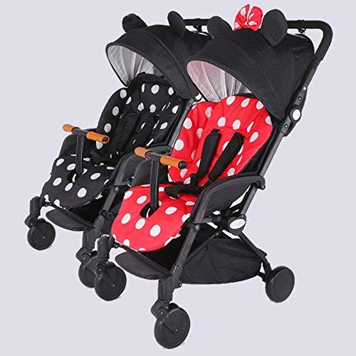 GHH Poussette Double De BéBé pour 2 Enfants Ultra LéGèRe Enfant Pliant Chariot D'Amortisseur Peut S'Asseoir à Paysage éLevé 0-3 Ans(Charge Maximale De 50 Kg pour Bébé),Mickey+Minnie