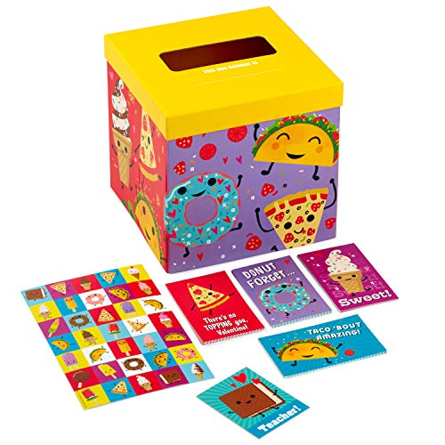Hallmark Valentines Day Cards for Kids and Mailbox for Classroom Exchange, Punny Foods (1 Box, 32 Valentine Cards, 35 Stickers, 1 Teacher Card)