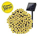 Grezea Solar Fairy String Lights 200 LED Decorative Twinkle Light for Garden Patio Lawn Balcony Tree Outdoor Landscape Holiday Wedding Indoor Starry Decoration for Playhouse Bedroom lighting, 72' Warm