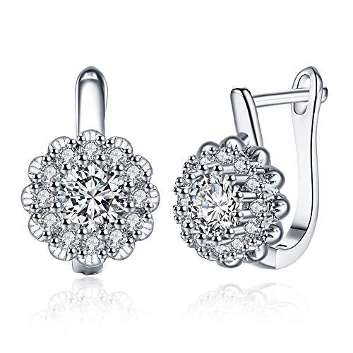 Orecchini a bottone placcati Silver bianco da Donna, orecchini a forma di margherita con zirconi cubici, gioielli per donne e ragazze Regali di Natale/nascita
