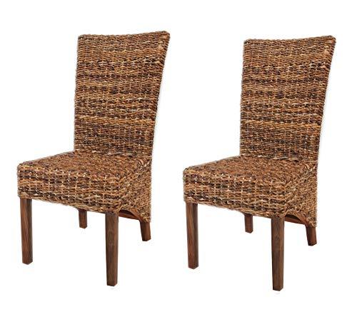 Meubletmoi Borneo – Juego de 2 sillas de Comedor Trenzadas de Abaca Natural – Estilo kubu exótico clásico Chic