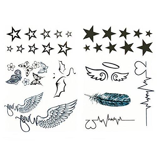 Oblique-Unique® 34 temporäre Tattoos Sterne Heartbeat Flügel Schmetterlinge Teufel Engel