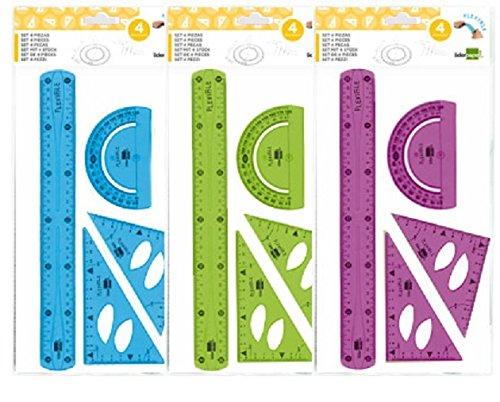 Liderpapel - Juego Escuadra 10 Cm, Cartabón 14 Cm, Regla 30 Cm Y Semicírculo Plástico Flexible En Petaca Colores Surtidos