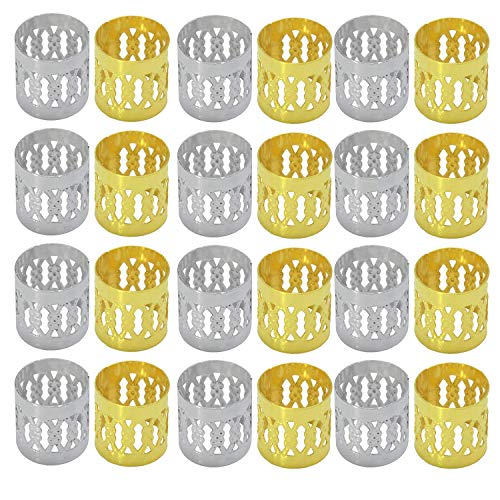 200 PCS Bread Rings Set, Beads Accessories Rings (Silver and Gold)