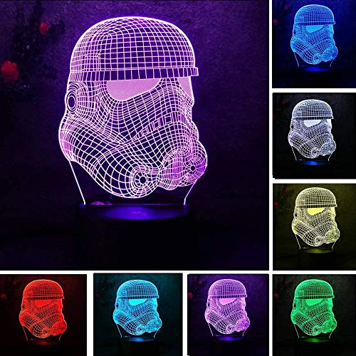 YOUPING 3D Figure White Warrior RC Toy Illusion lamp Clone Force Colorful Gradient Visual LED Night Light Birthday Gift