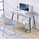 GOLDFAN Escritorio de Cristal para Oficina Mesa de Trabajo Mesa Rectangular con Patas de Metal Negro,113x70x75cm