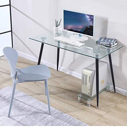 GOLDFAN Schreibtisch Glas Bürotisch Computertisch Arbeitstisch Eckschreibtisch Rechteckiger Tisch mit Schwarz Metallbeine