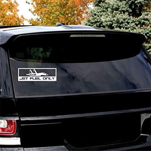 DKISEE Jet Brandstof Alleen Vliegtuig Decal, Vinyl Motorfiets Truck Auto Bumper Sticker Venster Spiegel Muursticker Laptop Decal, 6 Inch