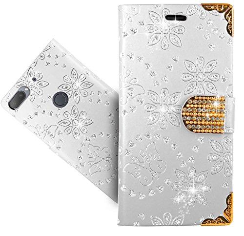 HTC Desire 12 Plus / Desire 12+ Handy Tasche, FoneExpert® Wallet Hülle Cover Bling Diamond Hüllen Etui Hülle Ledertasche Lederhülle Schutzhülle Für HTC Desire 12 Plus / Desire 12+