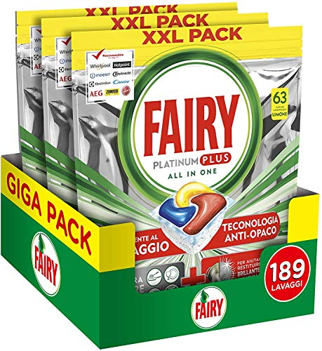 Fairy Platinum Plus pastillas para lavavajillas, limón, para una limpieza profunda contra la suciedad, que deja los platos limpios y brillantes, como nuevos, 1090 g
