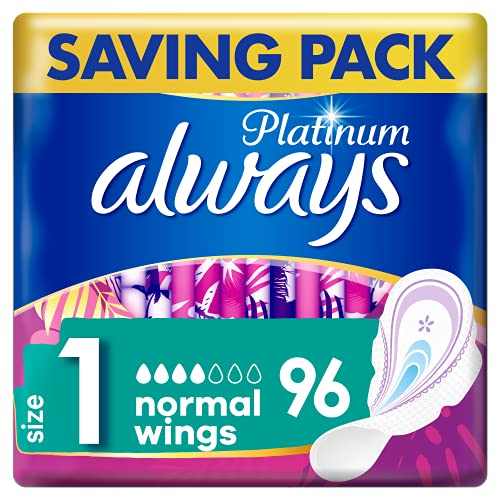 Always Platinum Normal (Size 1) Sanitary Towels Wings 96 Pads, Always Ultra's Best Comfort & Protection