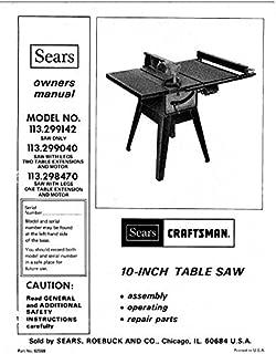Craftsman 113.299040 113.298470 113.299142 Table Saw Instruction Manual Reprint [Plastic Comb]
