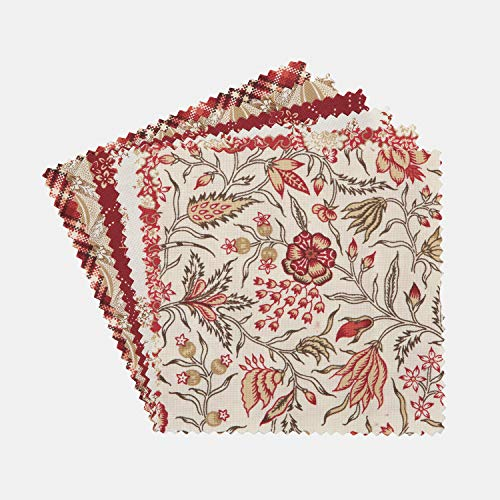 """Connecting Threads Print Collection Precut Quilting Fabric Bundle 10"""" Squares (Maison Rouge)"""