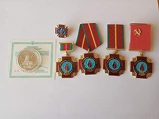 5 original soviet russian ukrainian chernobyl liquidator medals badge with coin. chernobil. pripyat