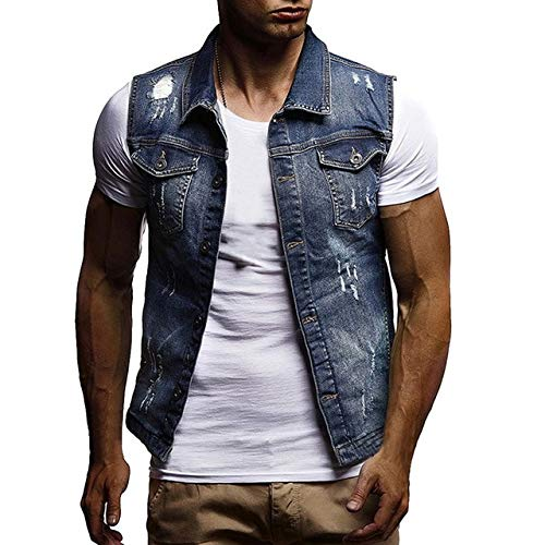 FEVIJNB Jagdweste Herren Slim Fit Ärmellose Jeans Jacke Sommermode Klassische Jeansweste Schwarz Turn-Down Kragen Jeans Weste XXXL Dunkelblau