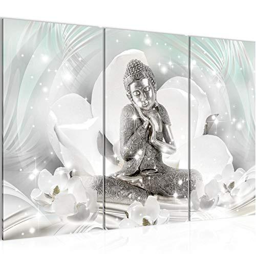 Runa Art Buda Feng Shui Cuadro Murales Sala XXL Gris Turquesa Bienestar Spa 120 x 80 cm 3 Piezas Decoración de Pared 016431a