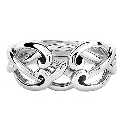 UCTUK Ladies 4 Band 4CSL Sterling Silver Celtic Puzzle Ring (9.5)