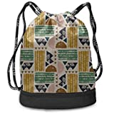 OKIJH Mochila Mochila de ocio Mochila con cordón Mochila multifuncional Bolsa de gimnasio Unisex Drawstring Bags Ethnic Traditional Geometric Gym Drawstring Bags Backpack Sports String Bundle Backpack