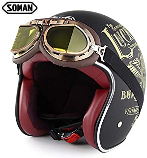 XuBa Motorcycle Helmet Harley Chopper Vintage Open Face Old School Casque Moto Cacapete Retro Helmets with Goggles Luck 13 XXL