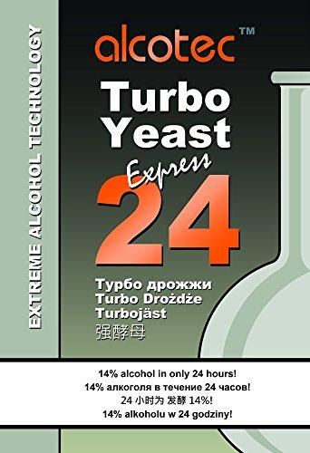 Turbohefe TURBO 24H PURE 205g - Alcotec Turbo Hefe Wodkahefe Wodka Destillieren Gärhefe Vodka Hooch Alkohol Alcoholmeter