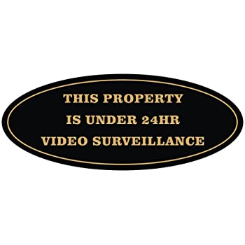 Black Medium All Quality Oval Property Under 24HR Video Surveillance Sign
