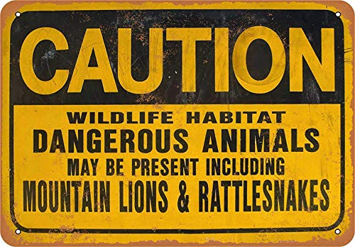 "Placa decorativa de metal de 20 x 30 cm, diseño de animales peligrosos, con texto en inglés ""Caution Wildlife Hábitat Dangerous Animals"